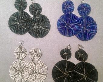 Handbeaded Earrings -  Circe drop design  4 colors