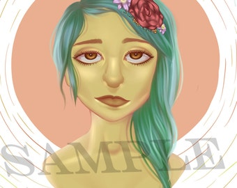 Original Digital Art Bust Print - Girl With Flowers in Her Hair-Cyber Monday Sale!