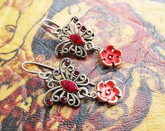 Butterfly earrings Red earrings gift for daughter gifts Bohemian earrings Boho earrings 1980s jewellery Vintage earrings Dangle earrings