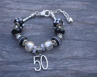 50th Birthday European Bead Bracelet-Perfect for 50th Birthday Gift-50th Birthday Bracelet