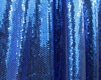 Shiny Sequins on Royal Blue Nylon Spandex Mesh by yard