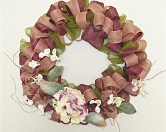 Free shipping, jute ribbon w/hydrangea wire wreath