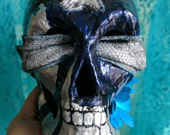 Silver Skull with Metallic Blue Paint