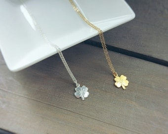 TINY SHAMROCK gold filled necklace