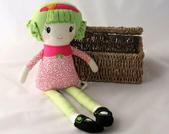 Rag doll modern, Fabric doll, CE mark. Custom made, ready to post. Dress up doll. Plaited felt hairstyle. Girl's gift, rag doll, floral