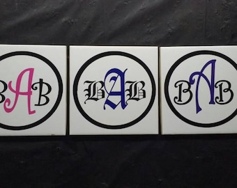 One custom monogram vinyl decal