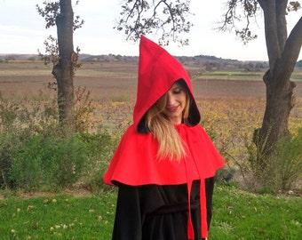 "Hood cape ""Chaperon"" red black reversible baize wool"