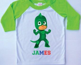 Pj Masks Birthday Shirt Geeko Personalized 3/4 Raglan Sleeves Unisex T Shirt Boys Girls Gift