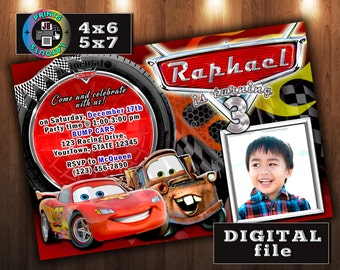CARS Lightning McQueen Birthday Invitation, Disney Pixar, CUSTOM Digital File, Any age, With Photo