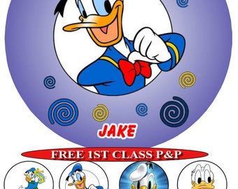 Donald Duck personalised cake top icing sheet 15cm 18cm or 20cm with 8 cupcake toppers