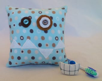 Monster Tooth Fairy Pillow - blue & brown polka dot, white teeth, tan back