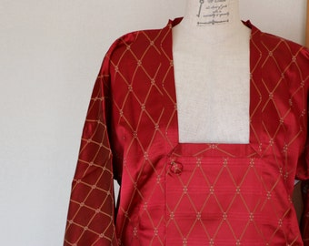 Vintage Japanese Kimono Coat, kimono Coat, Michiyuki, antique Kimono, beautiful kimono, Dark red Jacket,  Long Coat, Red vintage kimono
