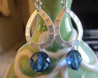 CLEARANCE  Silver oblong earrings with pretty large beads