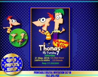 Phineas and ferb Digital  Printable invitation, Custom Party, phineas and ferb ,Birthday,Party, Supply, Kit, Pack, Custom