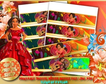 Elena of Avalor Digital Printable Party Water Bottle Labels, Custom Party, Elena of Avalor ,Birthday