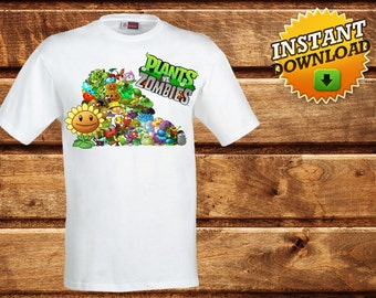 Plants vs Zombies Iron on Transfer T-Shirt,Printable Plants vs Zombies party,Plants vs Zombies Print, decoration Shirt-DIGITAL DOWNLOAD-DIY