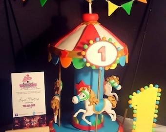 Circus Carousel Cake Topper
