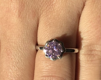 Pink Cubic Zirconia Stone Ladies Ring made out of 925 Sterling Silver