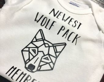 Newest wolf pack member onesie, geometric wolf, Father's Day, wolf pack bodysuit