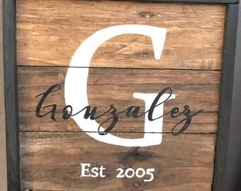 CUSTOM Framed Family Sign | Family Sign | Last Name Sign | Established Sign