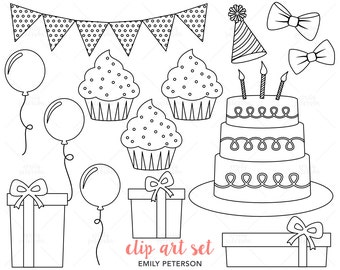 Birthday Party, Celebration, Birthday Cake - Cute Digital Stamps, Line Art  - Commercial Use, Instant Download