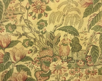 Rare 19th Century French Chinoise Printed Cotton Fabric