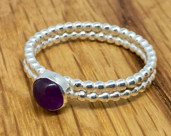Amethyst beaded ring, amethyst ring, size T, double stacking ring, sterling silver, Amethyst, March birthstone, gift for her, March Birthday