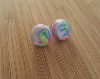 Rainbow polymer clay stud earrings