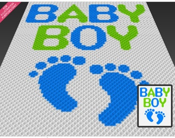 Baby Boy crochet blanket pattern; c2c, cross stitch; knitting; graph; pdf download; no written counts or row-by-row instructions