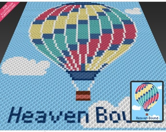 Hot Air Balloon crochet blanket pattern; c2c, cross stitch; knitting; graph; pdf download; no written counts or row-by-row instructions