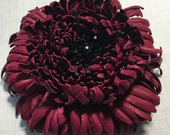 Burgundy coloured Leather Flower Brooch