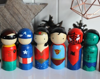 Hand-painted wooden peg doll, personalised- Star Wars Rocky Horror Pirate Superhero Cake Topper Bride Groom Spiderman Superman Wonder Woman