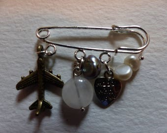 Areoplane Safety Pin Brooch