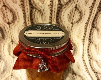 Vanilla Bourbon Peach Preserves-homemade-gifts-breakfast-meat marinade- ice cream topping- cake filling-cupcake filling-personalizable