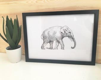 Black And White Elephant Illustration Art Print With Frame Included