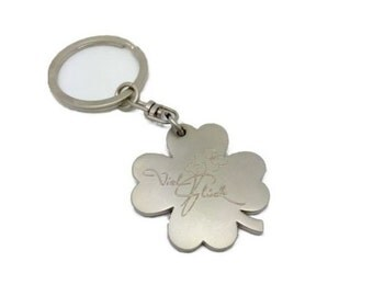 Keyring lucky charms good luck free engraving matt with motif