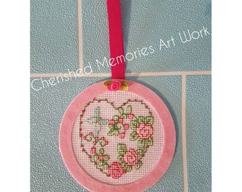 Completed Cross stitch hanging decor