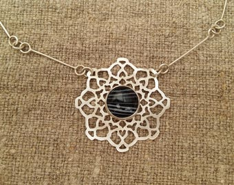 Sterling Silver Mandala necklace with banded agate
