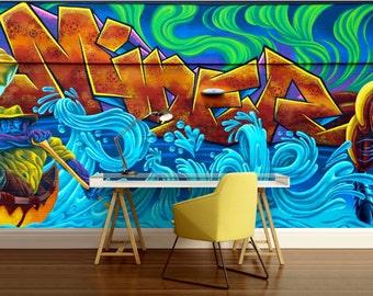 GRAFFITI 3d MURAL, street graffiti, graffiti mural, self-adhesive vinly, graffiti wall decal, graffiti mural, graffiti wallpaper, graffiti