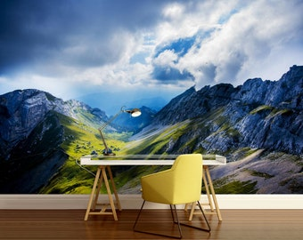 FOREST WALL MURAL, snow wall mural, nature mural, forest wall decal, peel and stick vinly, mountains wall mural, alps wall mural,