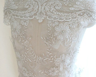 Beaded Ivory Silver Embroidery Lace Fabric, Floral Scalloped material, Wedding Dress Evening Gown Lace trim, flower Applique lace