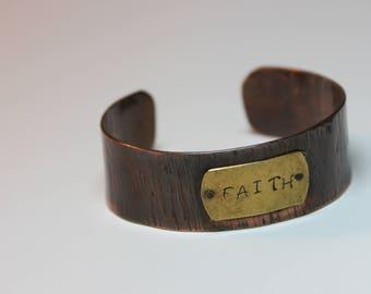 Copper Cuff / Copper Bracelet / Faith Stamp / Brass Plate / Textured / Hammered
