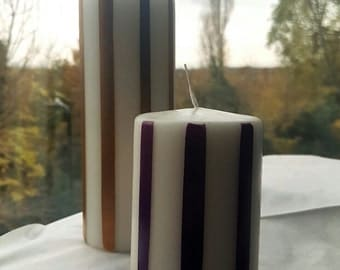 Stripped handpainted pillar candles