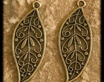 Beautiful Antique Brass Leaf Charms Drops Pair - 40mm - B18