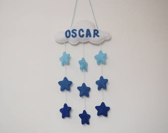 Personalised cloud decor - Hanging cloud with baby's name - Cloud mobile - Cloud decoration - Nursery decotr