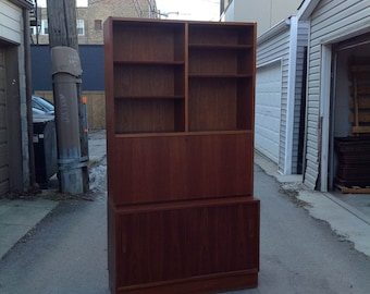 Poul Hundevad MCM two-piece secretary cabinet and hutch