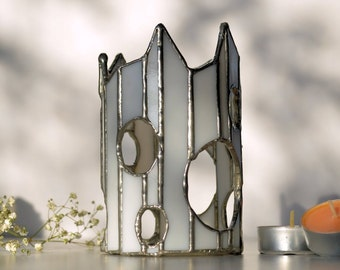 Tall round white candle holder with holes - Completely lead-Free - OOAK