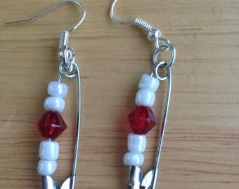 Red and White Safety pin earrings