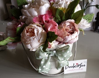 pretty shabby chic bucket of flowers.