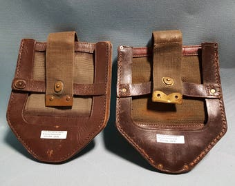 Early West German Leather and Canvas Shovel Carrier (2 Available)